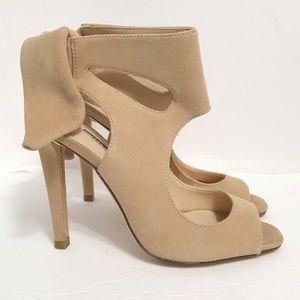 Zara Women • Beige Suede Peep Toe Heel Tie Back